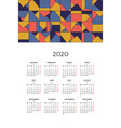 wall calendar 2020 design template vector image