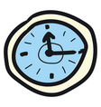 wall clock hand drawn design on white background vector image