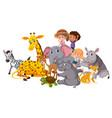 wild animals and children vector image