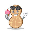 with ice cream peanut character cartoon style vector image
