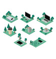 workplace elements isometric set icons vector image