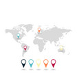 world map with pointers set vector image vector image