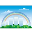 The urban landscape with a rainbow vector image