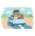 a kids in car on road vector image