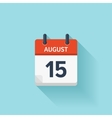 august 15 flat daily calendar icon date