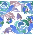 Blue Watercolor Rose Seamless Pattern vector image vector image