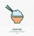bowl with rice and chopsticks thin line icon vector image