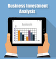 business analysis tablet in his hands vector image vector image