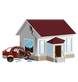 Car crash Auto crashed into wall at home vector image vector image