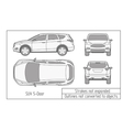 car sedan and suv drawing outlines not converted vector image vector image