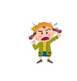 cartoon character of a angry girl vector image vector image