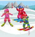 cartoon kids having fun on skis on winter holiday vector image