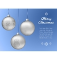 Christmas card with three silver pendants in the vector image vector image