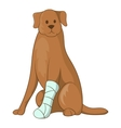 Dog with an injured leg icon cartoon style vector image vector image