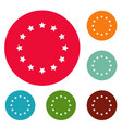 european union icons circle set vector image