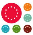 European union icons circle set