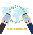 global mobile banking concept in line art style vector image vector image