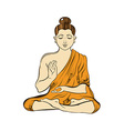 Hand drawn sitting Buddha in meditation Yoga vector image
