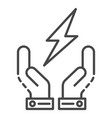 hand keep energy icon outline style vector image