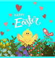 handdrown easter background with eggs chicken and vector image vector image