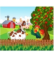 Happy cow and chicken in the farm vector image vector image