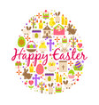 happy easter greeting card cartoon decoration vector image vector image