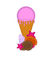 ice cream with seashells and sea stars vector image vector image