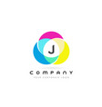 j colorful circular letter design with rainbow vector image