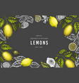 Lemon tree design template hand drawn fruit on