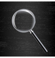 Magnifying Glass On Black Wooden Background vector image vector image
