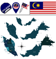 Malaysia map with named divisions vector image vector image