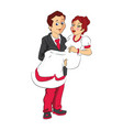 man carrying wife vector image vector image