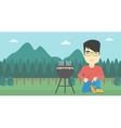 Man cooking meat on barbecue vector image vector image