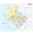 manila administrative political and road map vector image vector image