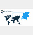 netherlands location on the world map for vector image vector image