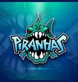 piranhas emblem logo for sports team vector image vector image