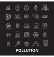 pollution editable line icons set on black vector image