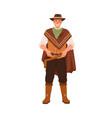portrait of happy smiling cowboy in hat standing vector image