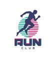 run club logo emblem with abstract running man