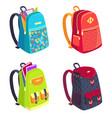 set colorful rucksacks for girls or boys vector image