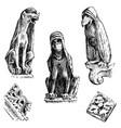 set of gargoyles chimera of notre-dame de paris vector image vector image