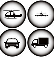 set transport on black glowing icons vector image