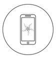 smartphone with crash touch screen icon in circle vector image vector image