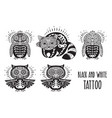sugar skulls black and white tattoo vector image vector image