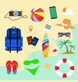 summer holiday flat icons with background beach vector image