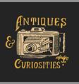 vintage camera antique shop label or golden badge vector image vector image