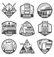 vintage monochrome petrol station labels set vector image vector image