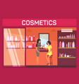 woman sitting with lipstick at cosmetic shop vector image
