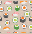 sushi set seamless pattern rolls endless vector image