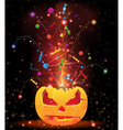 Pumpkin head and fireworks vector image